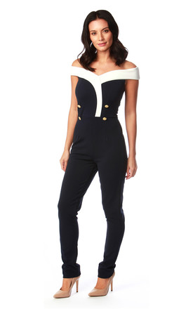 Verne Off Shoulder Jumpsuit in Navy and White by Want That Trend