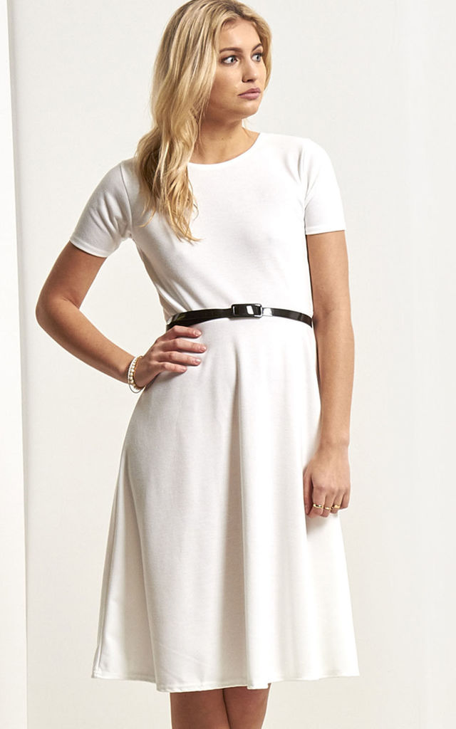 Cap Sleeve Belted Midi Skater Dress In Cream by Oops Fashion