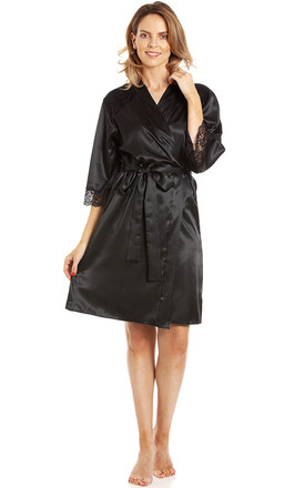 Short Satin Dressing Gown in Black by BB Lingerie