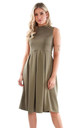 Malia Sleeveless Flared Midi Dress in Khaki by Oops Fashion
