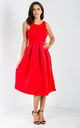 Malia Sleeveless Flared Midi Dress in Red by Oops Fashion