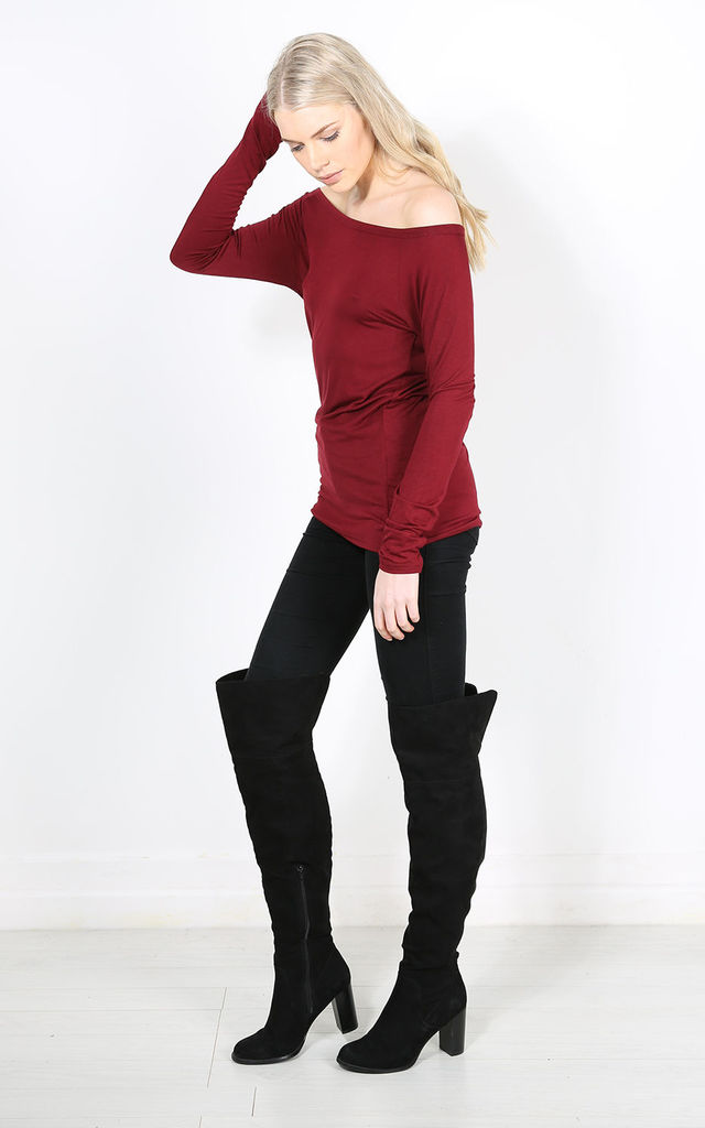 Jae Off Shoulder Long Sleeve Top In Wine Red by Oops Fashion