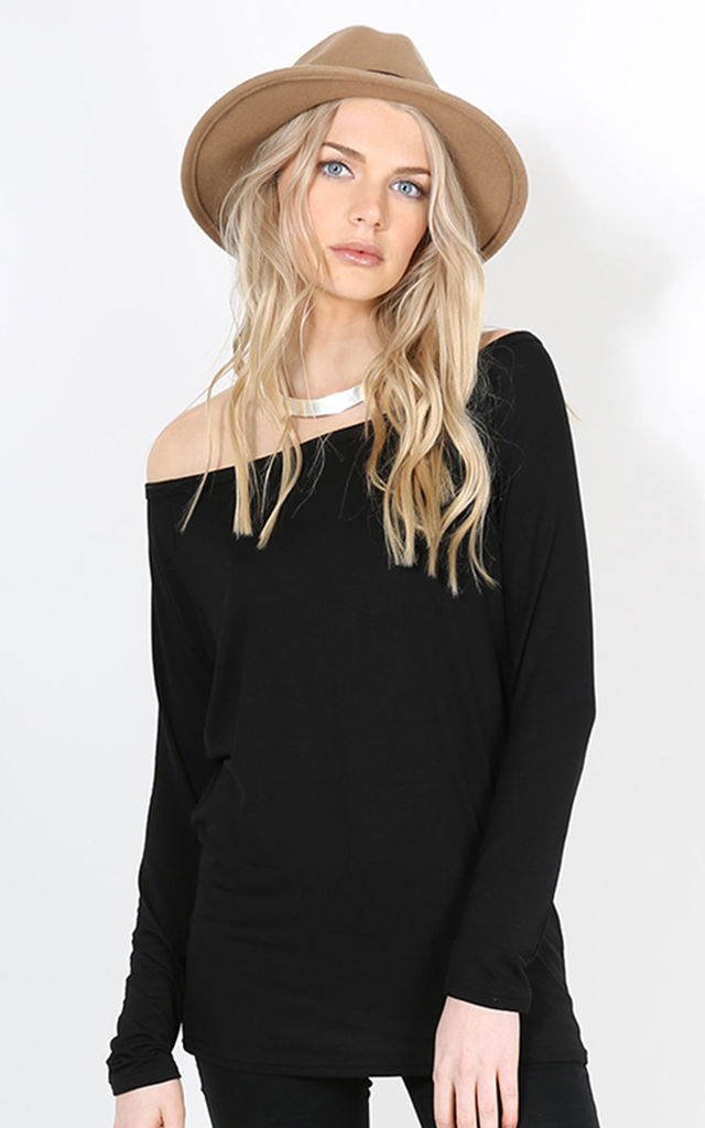 Jae Off Shoulder Long Sleeve Top In Black by Oops Fashion