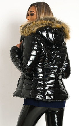 Olga Black Padded Puffer Jacket with Faux Fur Hood by IKRUSH