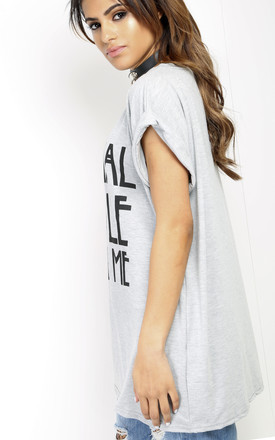 Theyda Oversized Slogan T-Shirt In Grey by Oops Fashion