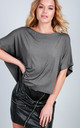 Oversized Cropped T-shirt in Dark Grey by Oops Fashion