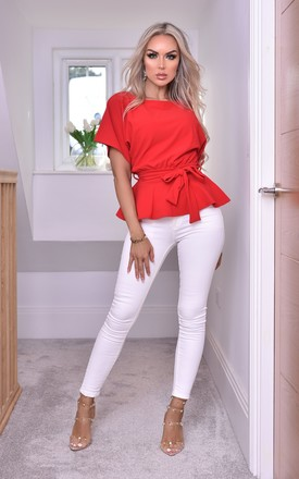 Ruby Red Batwing Peplum Top With Belt by Missfiga Product photo