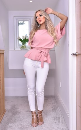 Ruby Blush Pink Batwing Peplum Top With Belt by Missfiga Product photo