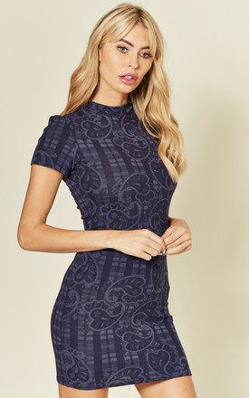 Cap Sleeve Bodycon Mini Dress in Navy Paisley Print by Mellie