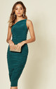 Rose Ruched One Shoulder Midi Dress In Emerald Green by Pleat Boutique