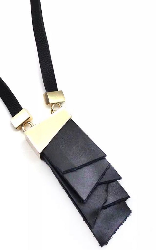 Long Geometric Pendant Necklace in Black Leather by Lovelock jewels