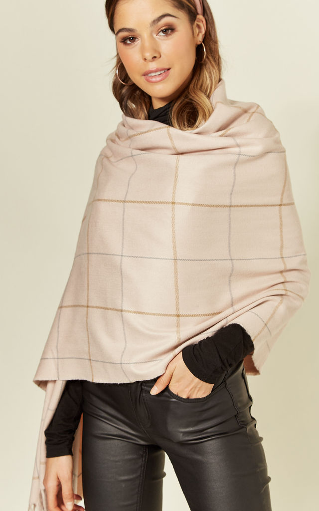 PETRA LARGE SCARF IN PINK CHECK by East Village