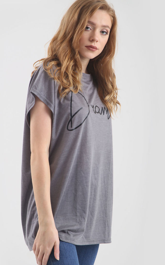 'Dramatic' Relaxed Fit Slogan T-Shirt in Grey by Oops Fashion