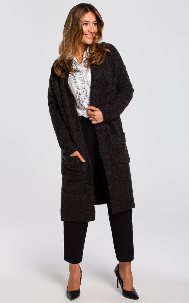 Long Cardigan with Pockets in Dark Grey by MOE