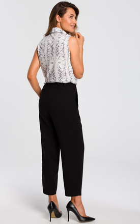 High Waisted Peg Trousers in Black by MOE
