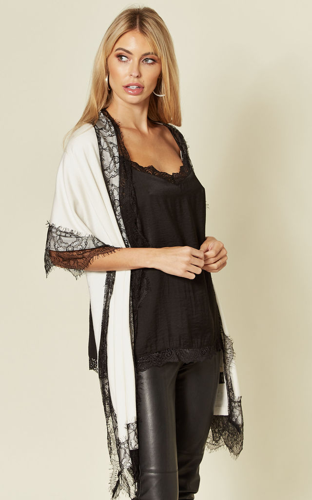 LACE TRIM PASHMINA STYLE WRAP IN CREAM by Malissa J Collection