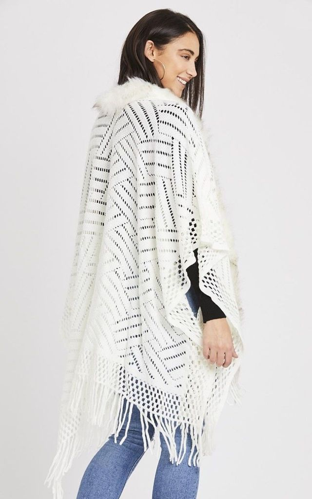Cream Faux Fur Trim Knitted Cape by Emily & Me