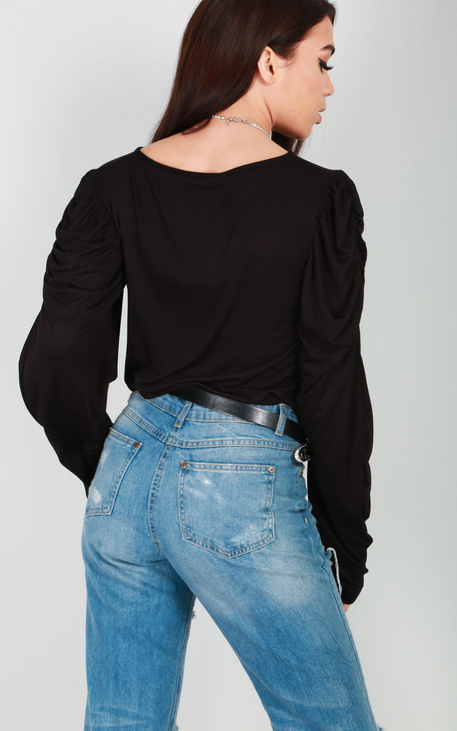 Ruched Long Sleeve Jersey Top In Black by Oops Fashion