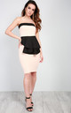 Strapless Peplum Bodycon Dress in Nude by Oops Fashion