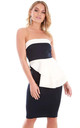 Strapless Peplum Bodycon Dress in Navy by Oops Fashion