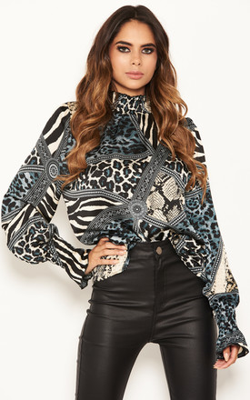 Frill High Neck Top With Long Sleeves In Multi Animal Print by AX Paris Product photo