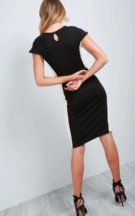 Paneled Bodycon Dress In Black & White by Oops Fashion