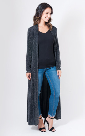 Longline Open Front Cardigan in Black Shimmer by Want That Trend