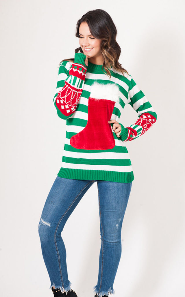 Striped Christmas Jumper with Stocking Wine Pocket by Want That Trend