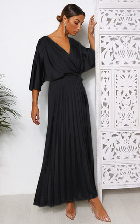 Black Cape Sleeve Maxi Dress by The Fashion Bible Product photo
