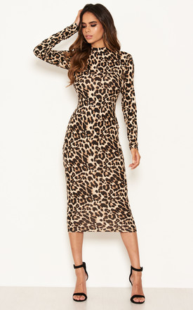 Leopard Print High Neck Bodycon Midi Dress by AX Paris Product photo