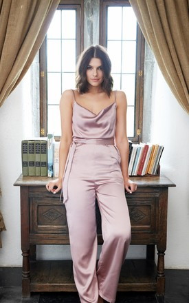 Love Letters Christmas Party Jumpsuit With Cowl Neck by The Silk Lemon Product photo