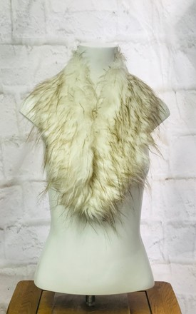 Faux Fur Snood Scarf In Cream/Beige by Pink Lemonade Boutique Product photo