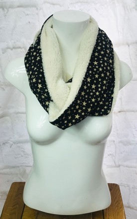 Star Print Snood Scarf In Brown by Pink Lemonade Boutique Product photo
