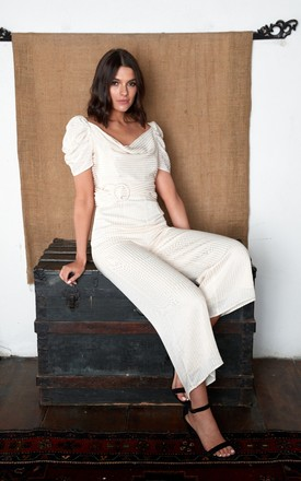 Vanilla Sky Cropped Jumpsuit With Cowl Neck by The Silk Lemon Product photo
