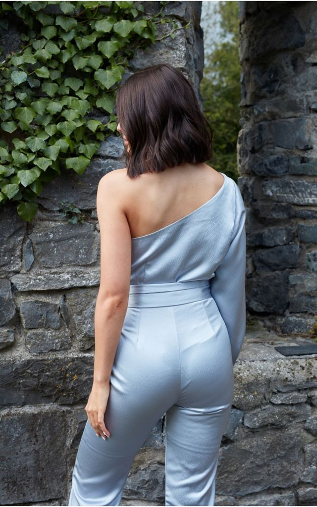 Blue Silky One Shoulder Jumpsuit by The Silk Lemon