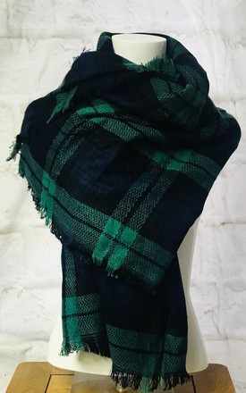 Large Wrap Scarf In Navy And Green Tartan by Pink Lemonade Boutique Product photo