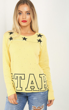 Long Sleeve Star Print Jumper In Yellow by Oops Fashion