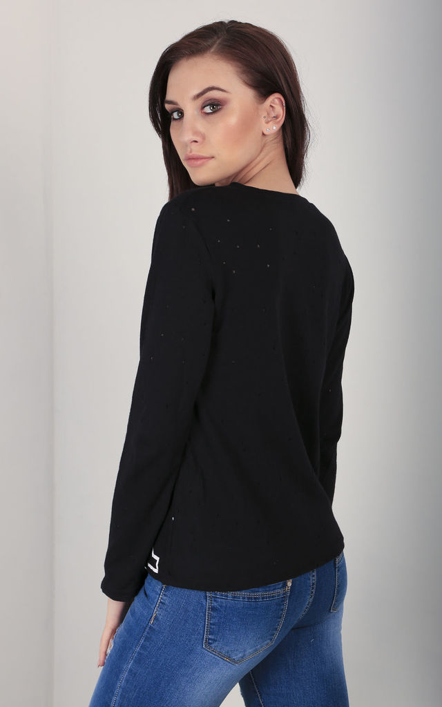 Long Sleeve Star Print Jumper In Black by Oops Fashion