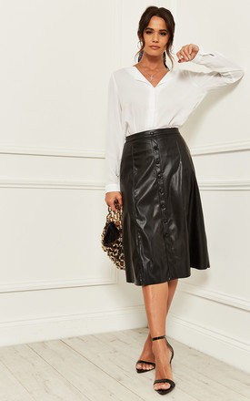 Leather Look Midi Skirt With Button Front In Black by Bella and Blue Product photo