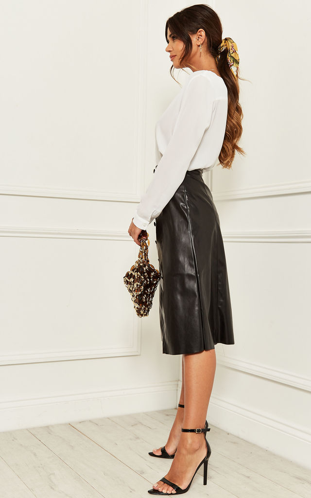 Leather Look Midi Skirt with Button Front in Black by Bella and Blue