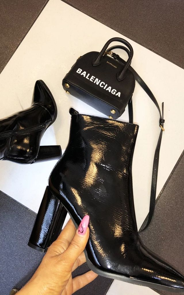 Sara Patient Black Heeled Boots by Cari's Closet