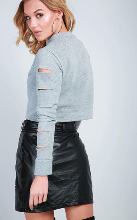 Fleece Lined Ripped Cropped Sweatshirt In Grey by Oops Fashion