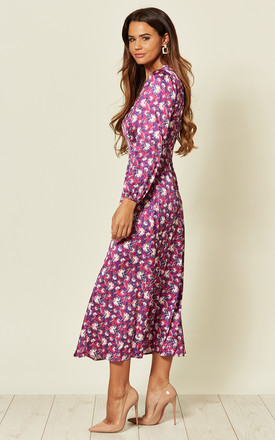 Midi Dress in Pink Abstract print by D.Anna