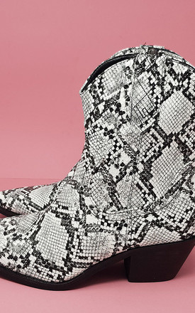 Western Boots in Grey Snake Print by For Shoe Sake