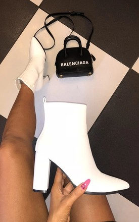 Lois Heeled Ankle Boots in White by Cari's Closet