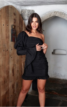When The Night Calls Black Mini Dress With One Shoulder by The Silk Lemon Product photo