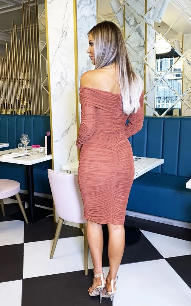 Carmella Ruched Bodycon Dress in Rust by Cari's Closet