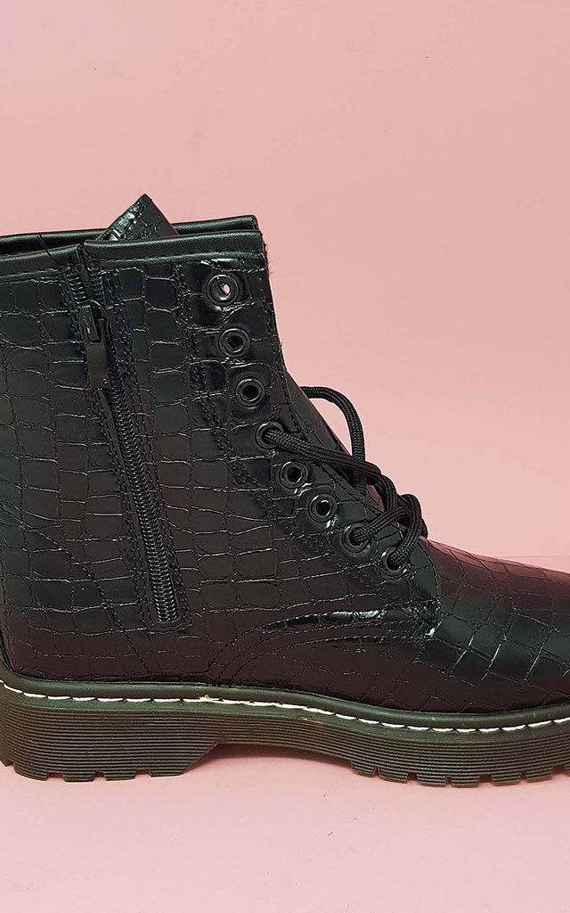 Croc Lace Up Ankle Boots in Black by For Shoe Sake