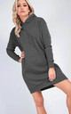 Long Sleeve Hooded Sweatshirt Dress In Charcoal by Oops Fashion