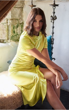 Lumiere Yellow Short Sleeve Midi dress with Ruffles by The Silk Lemon